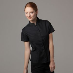 Women's bar shirt mandarin collar short sleeve (tailored fit) Thumbnail