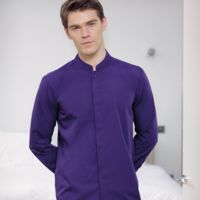 Mandarin collar fitted shirt long sleeve Thumbnail